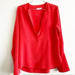 EQUIPMENT red silk blouse long sleeve top XS flare